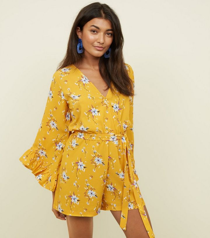 9d237dc76b Yellow Floral Ruffle Long Sleeve Playsuit