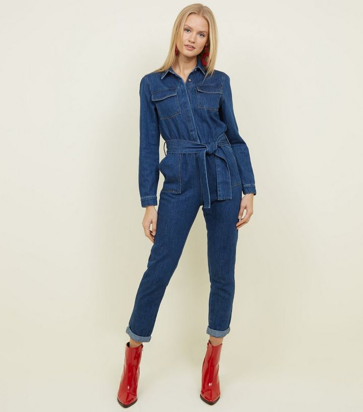 7ae179be70 Blue Denim Long Sleeve Belted Jumpsuit
