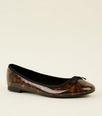 Wide Fit Brown Patent Tortoiseshell Ballet Pumps