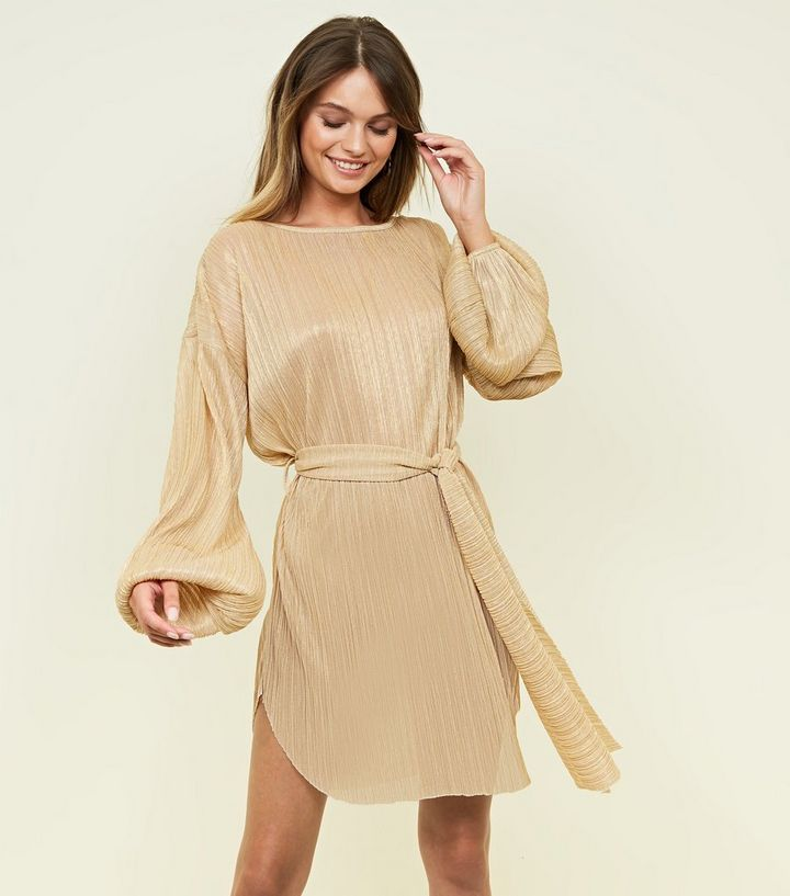 Cameo Rose Gold Glitter Long Sleeve Dress  80e7fc040f