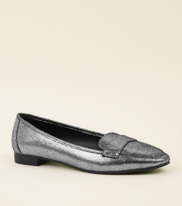 b992ebbbb38 Wide Fit Silver Cracked Metallic Loafers