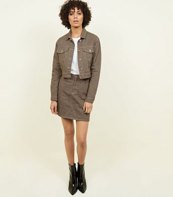 Brown Houndstooth Cropped Denim Jacket