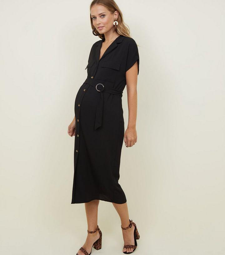 7224ff0ae3d Maternity Black Circle Buckle Midi Shirt Dress