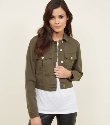 Khaki Denim Cropped Utility Jacket