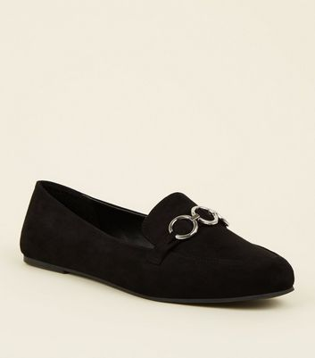 Wide Fit Black Suedette Ring Front Loafers