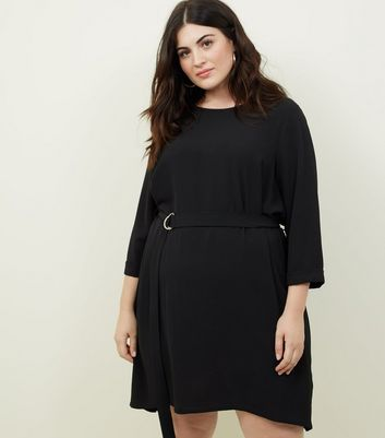 Curves Black Crepe Belted Tunic Dress