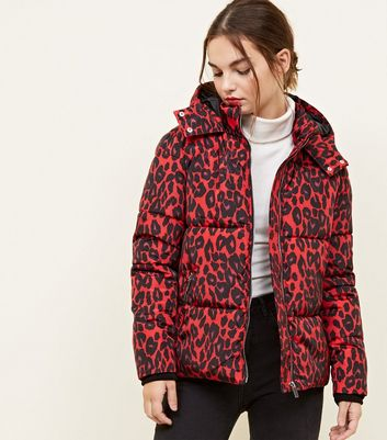 Petite Red Leopard Print Puffer Jacket