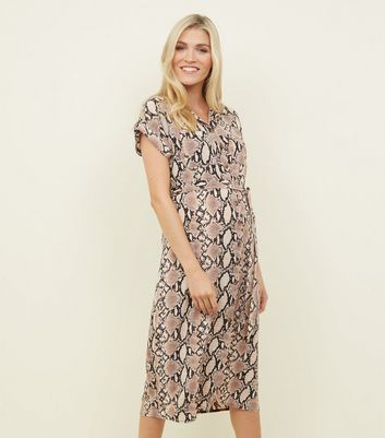 Maternity Camel Snake Print Midi Shirt Dress