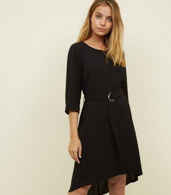 Petite Black Crepe Belted Dip Hem Tunic Dress