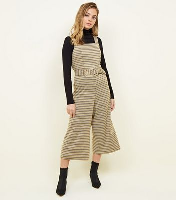 Petite Mustard Check Belted Jersey Dungarees