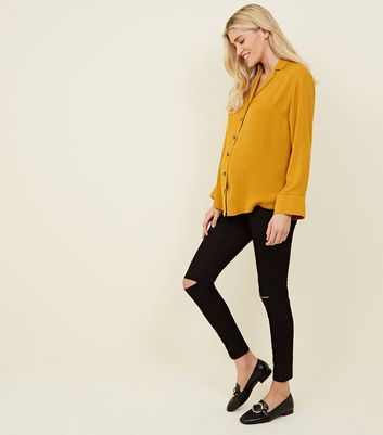Maternity Black Ripped Knee Over Bump Jeggings