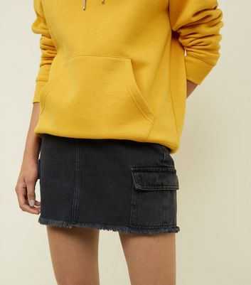 Black Cargo Pocket Denim Skirt