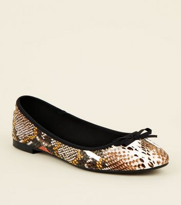 Wide Fit Multicoloured Faux Snake Ballet Pumps