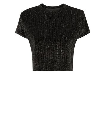 Cameo Rose Black Glitter Boxy T-Shirt New Look