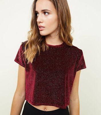 Cameo Rose Burgundy Glitter Boxy T-Shirt New Look