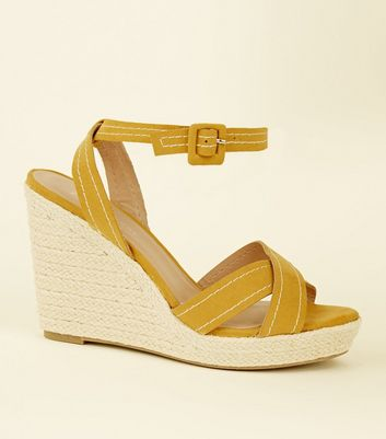 Wide Fit Mustard Suedette Contrast Stitch Wedges