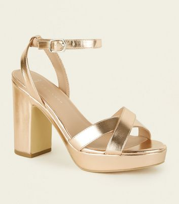Wide Fit Rose Gold Platform Sandals