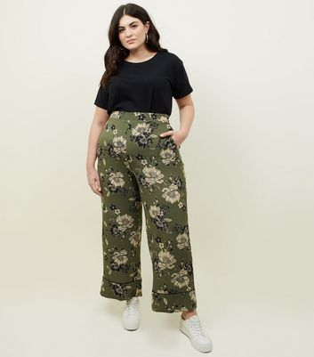 Curves Khaki Piped Cuff Wide Leg Trousers