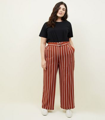 Curves Rust Stripe Belted Wide Leg Trousers