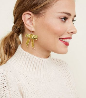 Gold Glitter Bow Earrings