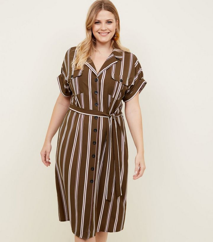 wholesale outlet for whole family attractive colour Curves Green Stripe Midi Shirt Dress Add to Saved Items Remove from Saved  Items