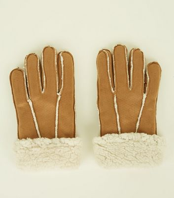 Tan Shearling Suedette Gloves