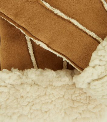 Tan Shearling Suedette Gloves New Look