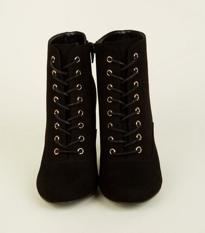 7310a51009bcf ... Black Lace-Up Gold Trim Block Heel Boots. ×. ×. ×. Shop the look