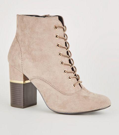 fa826b59e8a4 ... Light Brown Lace-Up Gold Trim Block Heel Boots ...