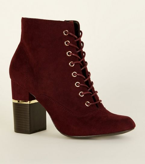 f394f3baf0b5 ... Dark Red Lace Up Gold Trim Block Heel Boots ...
