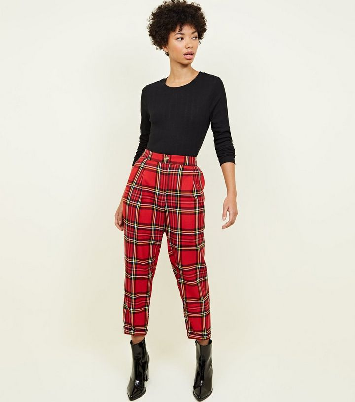 Red Tartan Check Tapered Trousers Add to Saved Items Remove from Saved Items