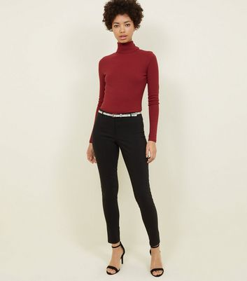 Black Faux Snake Belt Stretch Slim Leg Trousers