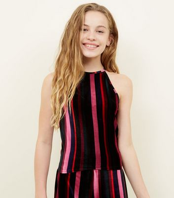 Girls Pink Velvet Stripe Cami