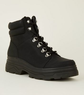 Black Chunky Lace Up Hiker Boots | New Look