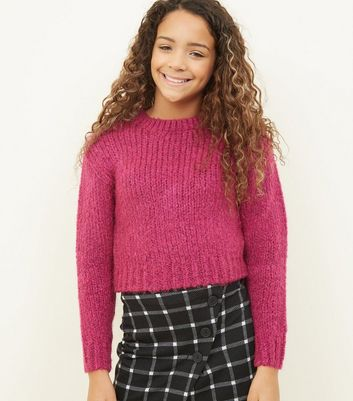 Girls Bright Pink Fluffy Knit Jumper