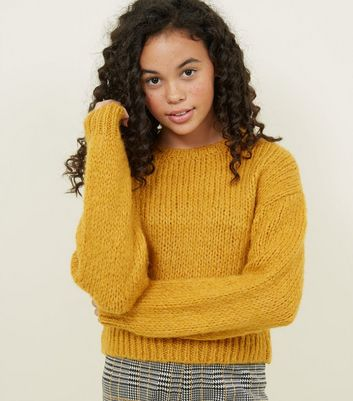 Girls Mustard Fluffy Knit Jumper