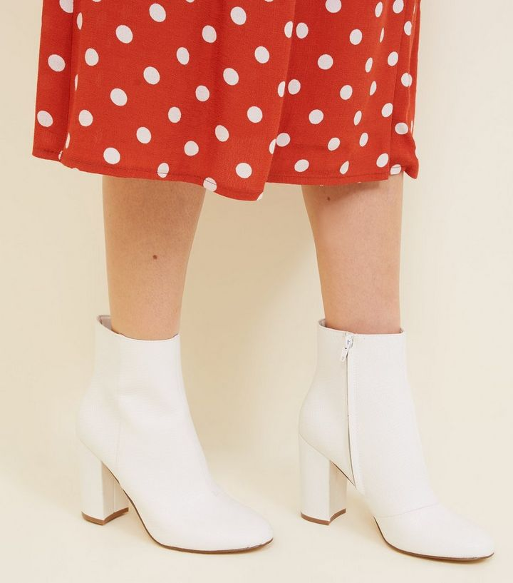 5105260f5ac White Faux Snake Block Heel Ankle Boots Add to Saved Items Remove from  Saved Items