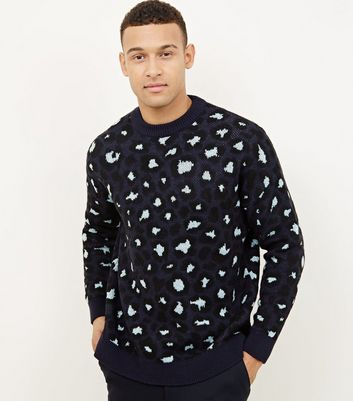 Blue Leopard Patterned Knit Jumper