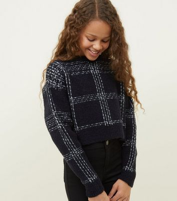 Girls Black Check Pattern Boxy Jumper