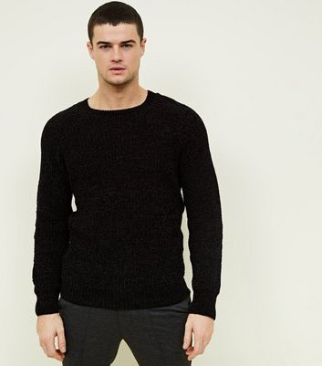 Black Chenille Knit Jumper