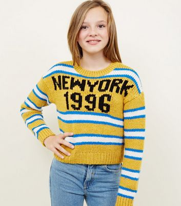 Girls - Pull coupe droite moutarde à rayures et slogan New York