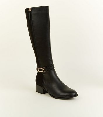 Black Comfort Ankle Strap Knee High Boots by New Look