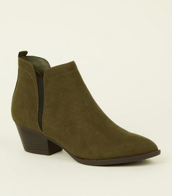 Khaki Western Pointed Chelsea Boots