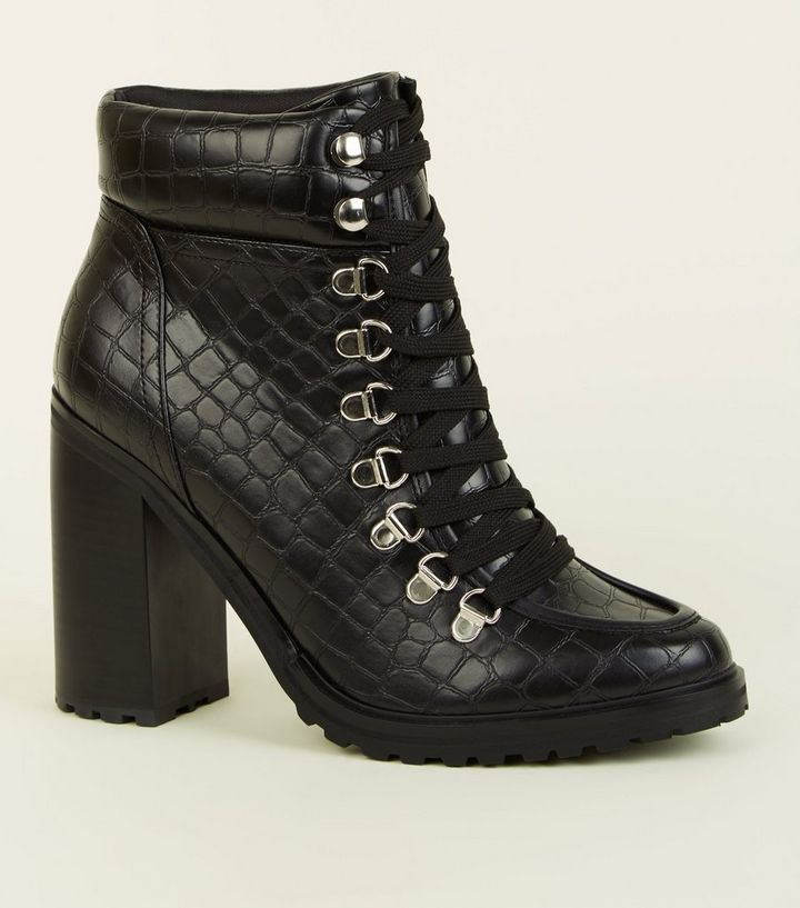 bf947407c22 Black Faux Croc Lace Up Heeled Boots Add to Saved Items Remove from Saved  Items