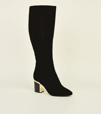 Black Suedette Gold Trim Heeled Boots