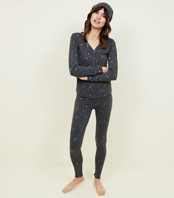 best service 2bfac 74c89 Hellgraues Pyjama-Set mit Leggings mit Glitzer-Sternen-Print Für später  speichern Von gespeicherten Artikeln entfernen