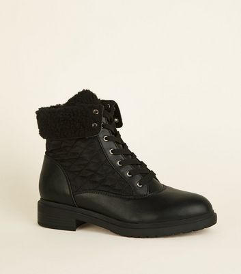 Wide Fit Black Quilted Lace Up Boots