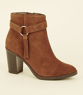 Wide Fit Tan Suede Tassel Ring Side Heeled Boots