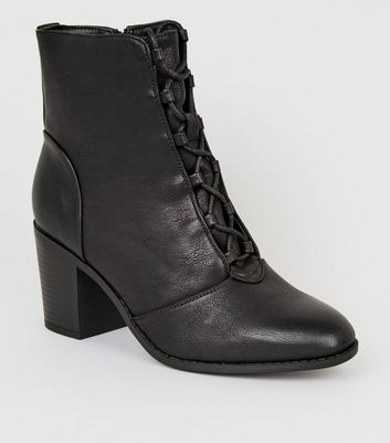 Wide Fit Black Lace-Up Block Heel Boots