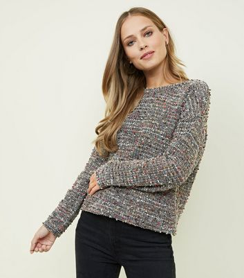 Black Multi Coloured Boucle Fine Knit Jumper